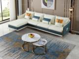 芬洛 轻奢风格 高端纳帕皮 北美进口落叶松框架 D01 弹簧底坐 沙发组合 (2+2+脚踏) 不分方向