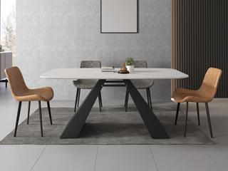 极简风格 意大利进口岩板N01#黑白色A型 1.4米餐桌