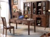 简美风情 美式风格 泰国进口橡胶木 浅咖色 书桌