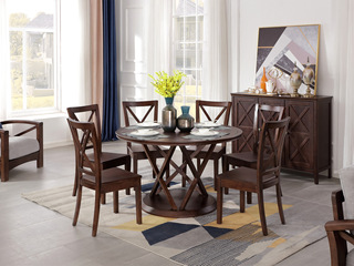 美式风格 泰国进口橡胶木 浅咖色 圆桌