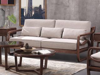 北欧风格 北美进口白蜡木 布艺沙发 三人沙发