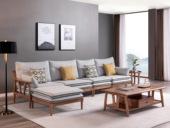 源木时光 北欧风格 北美进口白蜡木 布艺沙发 转角沙发(5人位+脚踏)(不分左右)