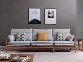 北欧风格 北美进口白蜡木 布艺沙发 双扶手四人位