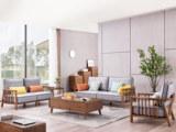 源木时光 北欧风格 北美进口白蜡木 科技布沙发 沙发组合(1+2+3)(不包含小抱枕)