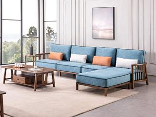 北欧风格 北美进口白蜡木 科技布沙发 转角沙发组合沙发(4人位+脚踏)