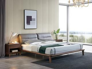 北欧风格 北美进口白蜡木 皮艺软靠 1.8*2.0米床