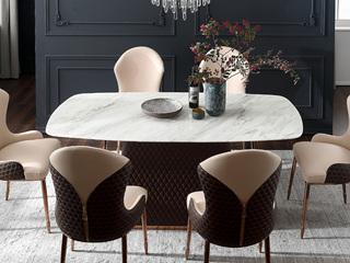 轻奢风格 大理石 优质环保皮 多层实木1.8米餐桌