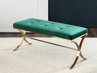 轻奢风格 优质实木 高档绒布 床尾凳