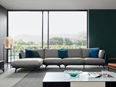 洛林菲勒 极简风格 棉麻面料+压纹皮 羽绒 实木底框架 转角沙发(1+3+右贵妃)