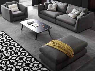 极简风格 科技布+乳胶颗粒 实木底框架 四人位沙发