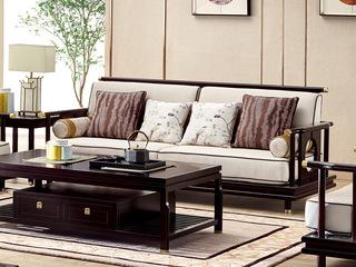 新中式 东南亚进口红檀木 高精密提花面料 K902 三位沙发