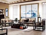 墨舍 新中式 东南亚进口红檀木 真丝靠包 K903 沙发组合(1+2+3+案几)