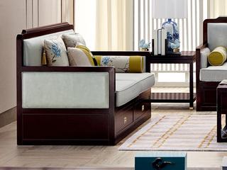新中式 东南亚进口红檀木 超纤真皮(靠背接触面) 麻布(座包) K905 双位沙发