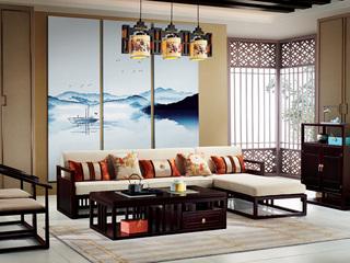 新中式 东南亚进口红檀木 优质细麻 K908 转角沙发(3+左贵妃)