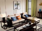 墨舍 新中式 东南亚进口红檀木 优质细麻(面料) 真丝抱枕 K909 转角沙发(3+脚踏+案几)