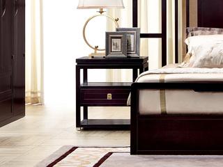 新中式 东南亚进口红檀木 中抽床头柜