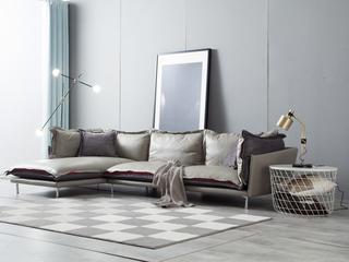 极简风格 铁架 全羽绒填充物 皮布结合 皮艺 转角沙发(1+3+右贵妃)
