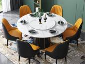 卡伦斯特 轻奢风格 大理石 不锈钢拉丝封釉镀钛金 1.3m餐桌(含转盘)