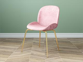 轻奢风格 不锈钢腿套 铁架 弯板 绒布餐椅(单把价格 需双数购买 单数不发货)
