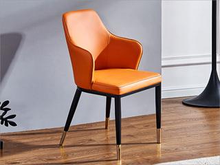 轻奢风格 实木腿 不锈钢拉丝封釉镀钛金 铁架 西皮餐椅(单把价格 需双数购买 单数不发货)