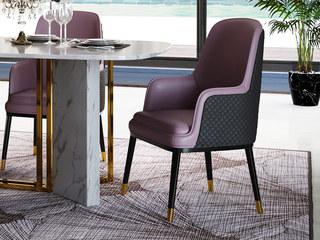 轻奢风格 优质环保皮 不锈钢拉丝封釉镀钛金 实木脚餐椅(单把价格 需双数购买 单数不发货)