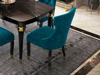 轻奢风格 高级舒适绒布 进口优质实木 不锈钢拉丝封釉镀钛金 餐椅(单把价格 需双数购买 单数不发货)
