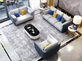 轻奢风格 不锈钢拉丝封釉镀钛金 皮艺  组合沙发(1+2+3)(抱枕随机发货)