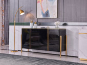 卡伦斯特 轻奢风格 钢琴烤漆 钢化玻璃 实木抽屉 不锈钢拉丝封釉镀钛金 1.2米餐边柜