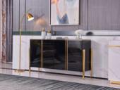 卡伦斯特 轻奢风格 钢琴烤漆 钢化玻璃 实木抽屉 不锈钢拉丝封釉镀钛金 1.5米餐边柜