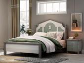 梓华轩 简美 卡慕斯系列 泰国进口橡胶木 清新绿 1.5*1.9m儿童床