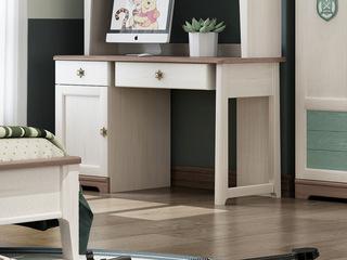 简美风格 主材北美白蜡木 新西兰松木 北美红橡木 深咖色 象牙白 双拼色 儿童通用直面书桌