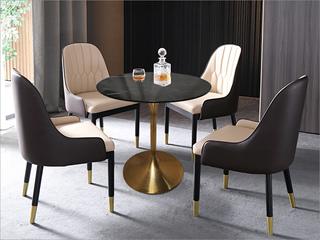 卡伦斯特 轻奢风格 大理石 不锈钢电镀钛金拉丝0.6m大理石洽谈桌