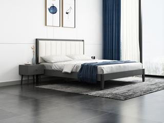 北欧风格 布纹铁灰 高密度海绵 雅白超纤皮靠背 1.2m床