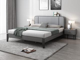 北欧风格 布纹铁灰 实木床脚 浅灰超纤皮 编织纹靠背 1.8m床