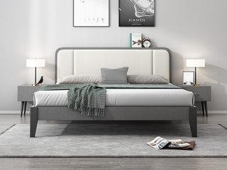 北欧风格 布纹铁灰 实木床脚 米白超纤皮 编织纹靠背 1.8m床