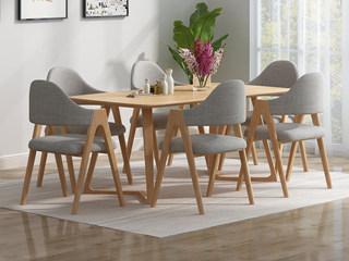北欧风格 泰国进口橡胶木 原木色 1.3m拐角餐桌