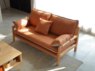 北欧风格 榉木坚固框架 科技布面料 原木色双人位沙发