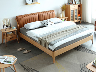 北欧风格 榉木坚固框架 优质超纤皮 舒适亲肤 原木色1.8*2.0m双人床
