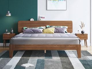 北欧风格 榉木坚固框架 自然原木 胡桃色1.5*2.0m平板床