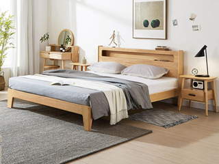 北欧风格 榉木坚固框架 创意圆柱床头 原木色1.8*2.0m床