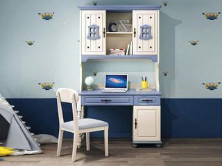 简美风格 优质橡胶木 环保健康 明朗天蓝 儿童书桌书架组合