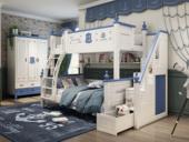 柏莎贝尔 简美风格 优质橡胶木 环保漆 绿色自然 坚固耐用 航海蓝 1.5m双层儿童床(含梯柜)