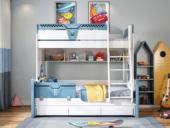 柏莎贝尔 简美风格 优质橡胶木 环保漆 经久耐用 安全防护 1.5m双层儿童床(不含拖床)