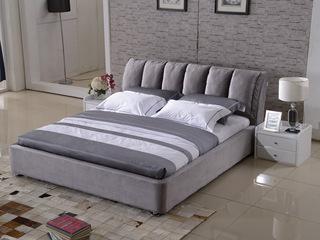 现代简约 韩国绒 实木框架 加固排骨架 九孔纤维绵 灰色床 1.8*2.0米床