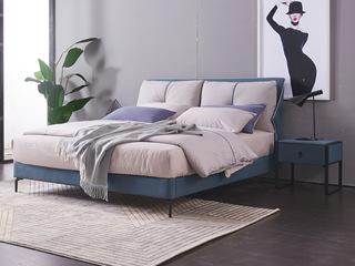 现代简约 科技布 实木框架 加固钢木排骨架 九孔纤维绵 灰色+蓝色床 1.8*2.0米床