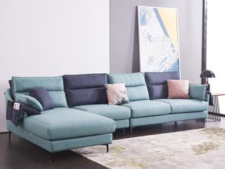 现代简约 科技布 松木底架 高海绵座包 羽绒靠包 蓝色+灰色沙发转角沙发组合(1+3+右贵妃)