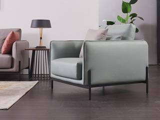 现代简约 科技布 松木底架 高弹海绵座包 九孔纤维棉靠包 珊瑚兰沙发 单人沙发