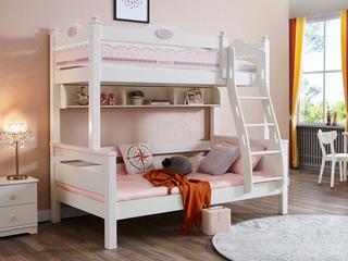 简美风格 泰国进口橡胶木 浅粉+白色 1.35m 上下床(含书架)