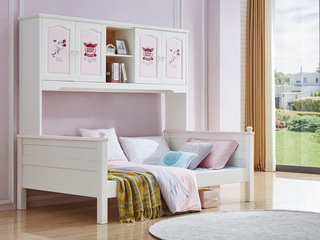 简美风格 泰国进口橡胶木 浅粉+白色 1.5m 衣柜床
