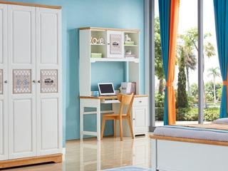 简美风格 泰国进口橡胶木 蜜桃金色+白色单门单抽直角书台(含键盘架)
